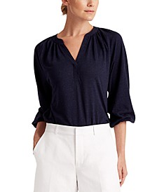 Shirred 3/4-Sleeve Top