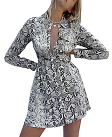 Graziana Snake-Print Shirtdress