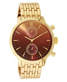 INC Men's Gold-Tone Bracelet Watch 43mm, Created for Macy's