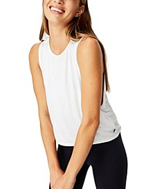 Cropped Keyhole Washed Tank Top