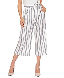 Striped Belted Culotte Pants