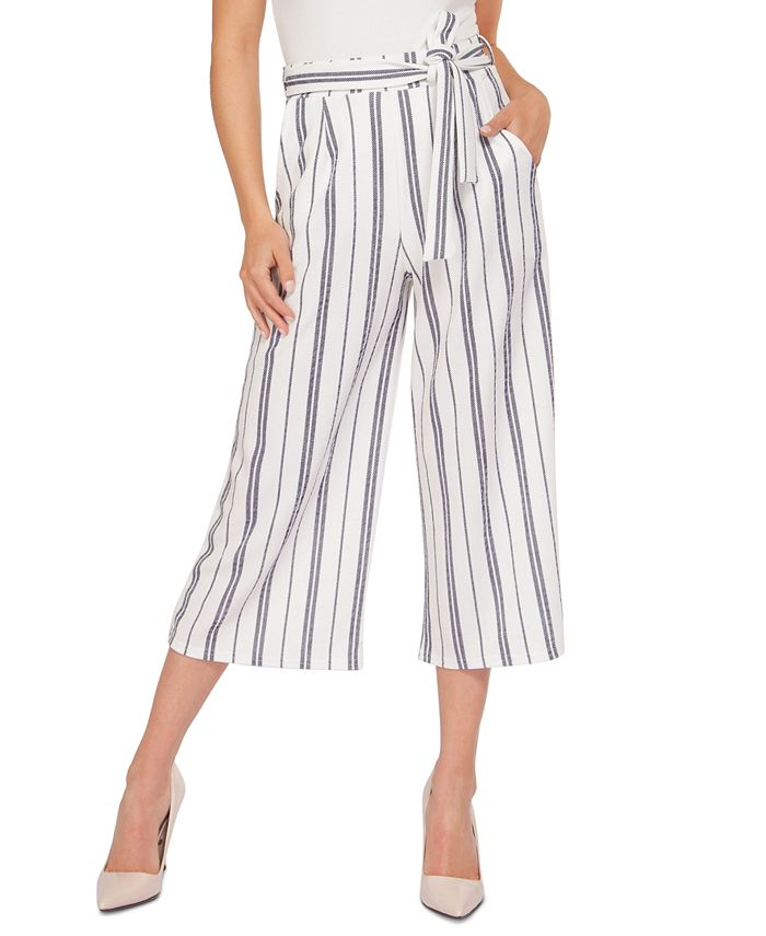Black Tape - Juniors' Striped Belted Culotte Pants