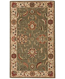 "Living Treasures LI04 Green 2'6"" x 4'3"" Area Rug"