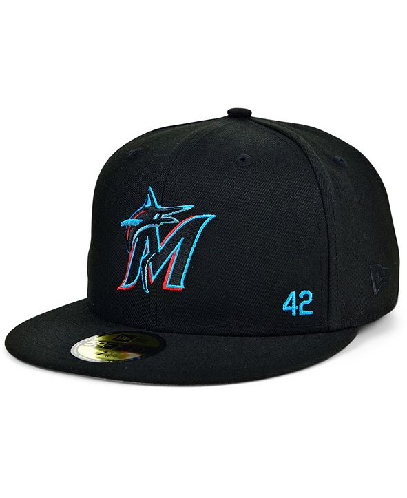 New Era Men's Miami Marlins Jackie Robinson 50th Patch 59FIFTY-FITTED Cap