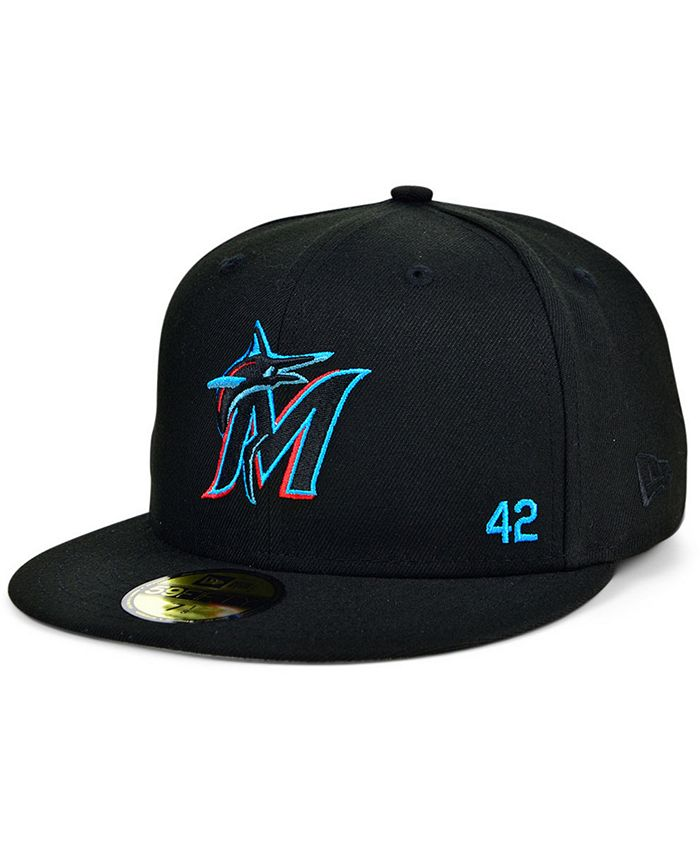 New Era - Men's Miami Marlins Jackie Robinson 50th Patch 59FIFTY-FITTED Cap