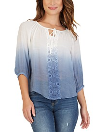 Juniors' Crochet-Trimmed Dip-Dyed Peasant Top