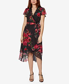 Petite Chiffon Floral-Print Wrap Dress