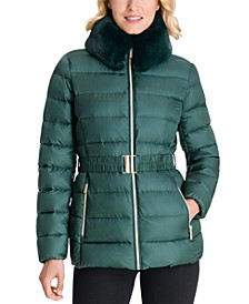 Faux-Fur Collar Belted Down Puffer Coat