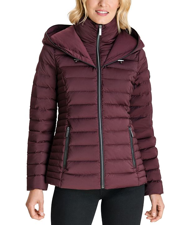 Michael Kors Hooded Stretch Packable Down Puffer Coat, Created for Macy's