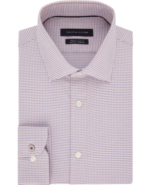 Tommy Hilfiger Men's Slim-Fit Non-Iron Th Flex Performance Stretch Check Dress Shirt