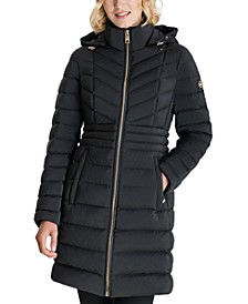 Hooded Stretch Packable Water-Resistant Down Puffer Coat, Created for Macy's