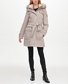 Belted Faux-Fur-Trim Hooded Water-Resistant Anorak Coat