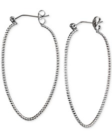 Silver-Tone Textured Oval Hoop Earrings, Created for Macy's