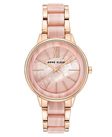 Women's Rose Gold-Tone & Pink Marble Acrylic Bracelet Watch 37mm