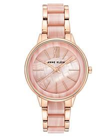 Anne Klein Women's Rose Gold-Tone & Pink Marble Acrylic Bracelet Watch 37mm