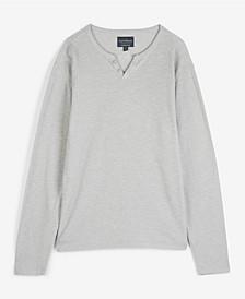 Men's Button Notch Neck Slub Thermal Knit T-shirt