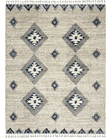 "Oslo Shag OSL03 Ivory and Blue 7'10"" x 10'6"" Area Rug"