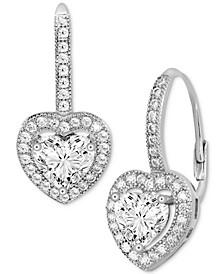 Cubic Zirconia Heart Halo Drop Earrings