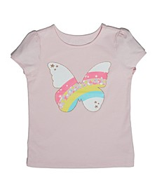 Little Girls Rainbow Butterfly T-shirt