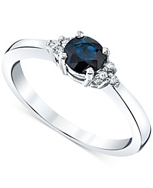 Sapphire (5/8 ct. t.w.) & Diamond (1/20 ct. t.w.) Ring in 14k White Gold