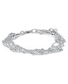 Fine Silver Plate Beaded Multi Strand Bracelet
