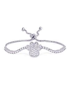 Fine Silver Plate Cubic Zirconia Paw Print Adjustable Bolo Bracelet
