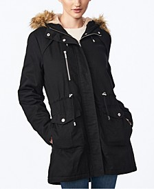 Juniors' Faux-Fur-Trim Hooded Anorak Coat