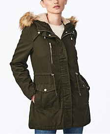 Juniors' Faux-Fur-Trim Hooded Anorak Coat