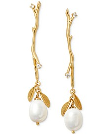 Gold-Tone Pavé & Imitation Pearl Branch Linear Drop Earrings