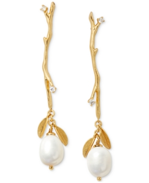 Kate Spade GOLD-TONE PAVE & IMITATION PEARL BRANCH LINEAR DROP EARRINGS