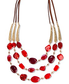 "Gold-Tone & Faux Suede Red Beaded 25"" Statement Necklace, Created for Macy's"