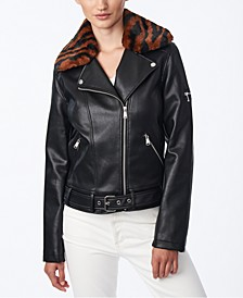 Juniors' Faux-Fur-Collar Moto Jacket