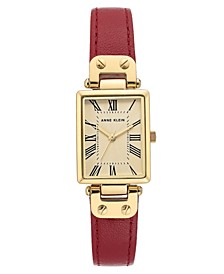 Women's Brown Leather Strap Watch 21.5x34.5mm