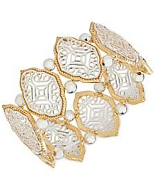 Two-Tone Filigree & Bead Stretch Bracelet, Created for Macy's