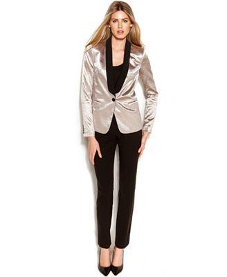Michael Kors Silver Tone Tuxedo Jacket Skinny Ankle Pants