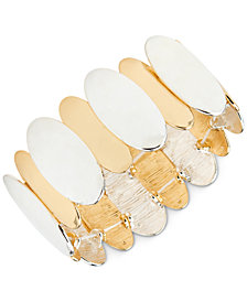 Style & Co Two-Tone Oval Disc Stretch Bracelet, Created for Macy's
