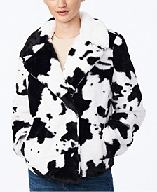 Juniors' Cow-Print Faux-Fur Jacket, Created for Macy's