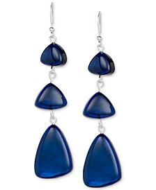 Silver-Tone Denim Blue Triple Drop Earrings, Created for Macy's