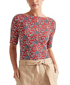 Floral Elbow-Sleeve Top
