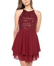Juniors' Sequinned Halter A-Line Dress