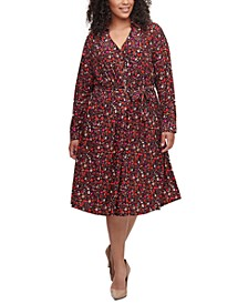 Plus Size Ditsy Floral-Print Shirtdress
