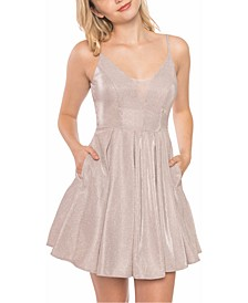Juniors' Glitter Mesh Skater Dress