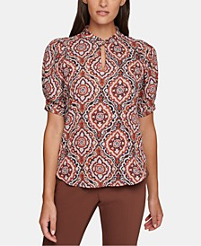 Printed Puff-Sleeve Top