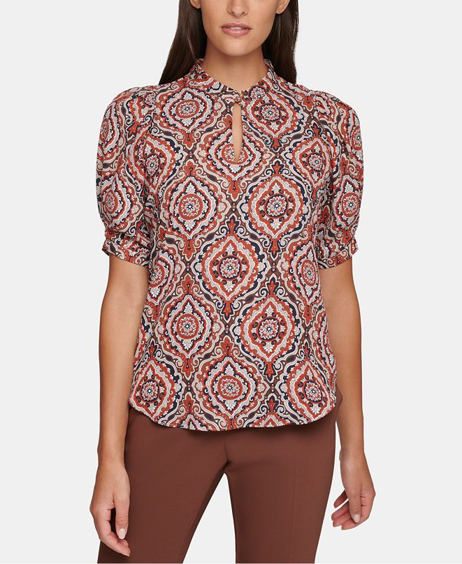 Tommy Hilfiger Printed Puff-Sleeve Top