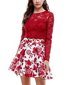 Juniors' 2-Pc. Lace & Floral-Print Fit & Flare Dress