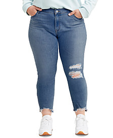 Levi's® Trendy Plus Size 711 Ripped Skinny Ankle Jeans