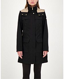 Colorblocked A-Line Hooded Raincoat