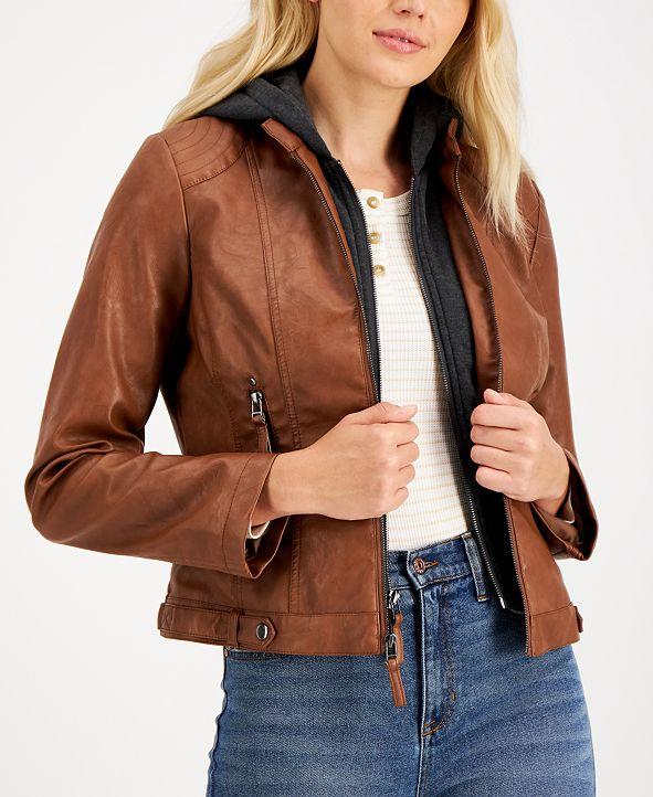 Maralyn & Me Juniors' Faux-Leather Hoodie Jacket