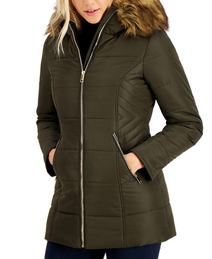 Maralyn & Me - Juniors' Faux-Fur-Trim Hooded Puffer Coat