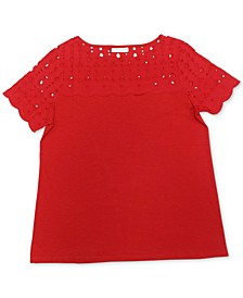 Petite Cotton Eyelet Top, Created for Macy's